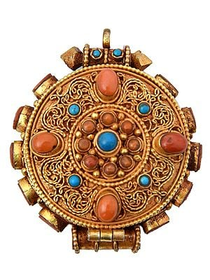 Manjushri Gau Box Filigree Pendant (with Coral and Turquoise) -  Made in Nepal