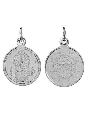 Goddess Sharada of Sringeri Pendant with Yantra on Reverse (Two Sided Pendant)