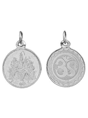 Shiva Parivar Pendant with OM (AUM) on Reverse (Two Sided Pendant)