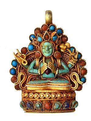 Chenrezig Gemstone Pendant (Coral, Turquoise and Lapis Lazuli) -  Made in Nepal