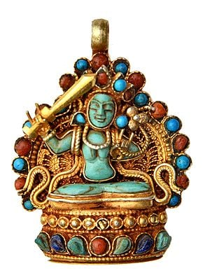 Manjushri Gemstone Pendant (Coral, Turquoise and Lapis Lazuli) -  Made in Nepal