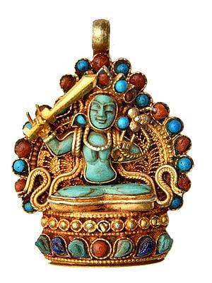 Manjushri Gemstone Pendant (Coral, Turquoise and Lapis Lazuli) -  Made in Nepal
