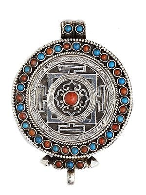 Mandala Gau Box Pendant with Coral and Turquoise -  Made in Nepal