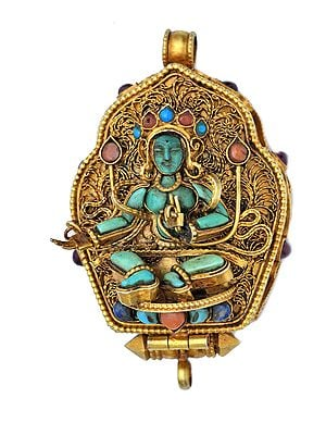 Manjushri Gau Box Gemstone Pendant with Green Tara at Front (Coral, Turquoise and Lapis Lazuli) -  Made in Nepal