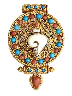 Conch (Ashtamangala) Gau Box Filigree Pendant with Coral and Turquoise -  Made in Nepal