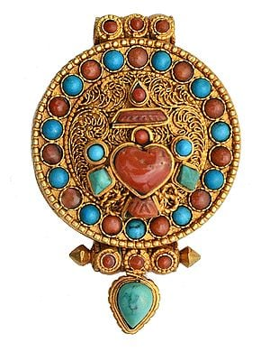 Vase (Ashtamangala) Gau Box Filigree Pendant with Coral and Turquoise -  Made in Nepal