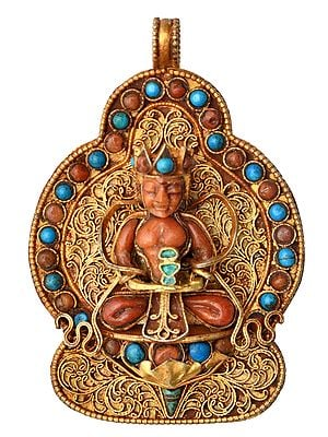 Amitabha Buddha Gau Box Filigree Pendant with Coral and Turquoise -  Made in Nepal