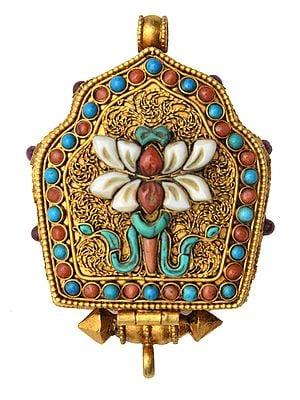 Goddess Green Tara Gau Box Filigree Pendant with Lotus (Ashtamangala), Coral and Turquoise -  Made in Nepal