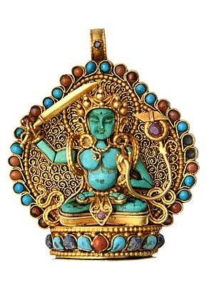 Manjushri (Bodhisattva of Transcendent Wisdom) Pendant with Coral, Turquoise and Lapis Lazuli - Made in Nepal