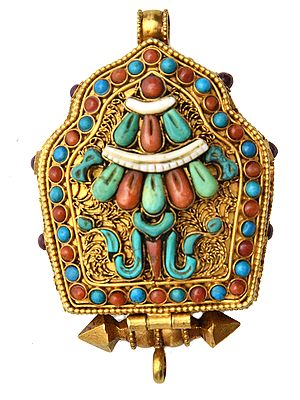 Chenrezig (Shadakshari Avalokiteshvara) Gau Box Gemstone Pendant with Umbrella (Ashtamangala) at Front (Coral, Turquoise and Lapis Lazuli)- Made in Nepal