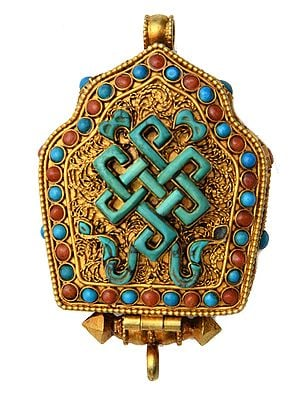 Goddess Green Tara Gau Box Gemstone Pendant with Endless Knot (Ashtamangala) at Front (Coral, Turquoise and Lapis Lazuli) - Made in Nepal