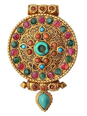 Dharma Chakra (Ashtamangala) Gau Box Pendant  with Coral, Turquoise and Emerald - Made in Nepal