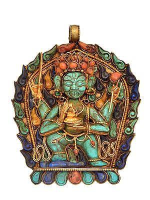 Gem-studded Mahakala Pendant (Tibetan Buddhist Jewellery Made In Nepal)