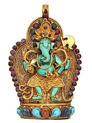 Handcrafted Lord Ganesha Gemstone Pendant with Filigree - Made in Nepal