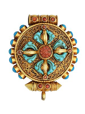 Handcrafted Vishva Vajra Gemstone Pendant with Filigree - Made in Nepal