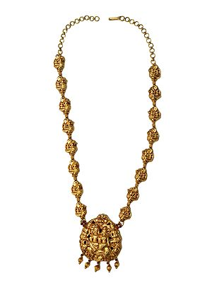 Shiva Parvati Necklace with the String of Peacocks (South Indian Temple Jewelry)