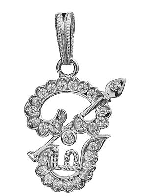 Tamil OM (AUM) Pendant with the Spear of Murugan