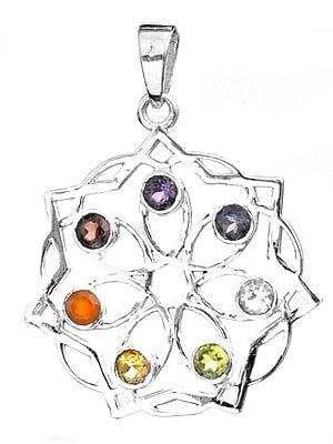 Faceted Gemstone Flower Pendant