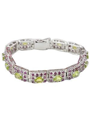 Faceted Rubies and Peridot Spring Bracelet