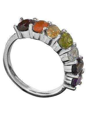 Coloured Curve Gemstones Ring