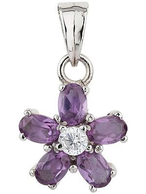 Amethyst and CZ Flower Pendant