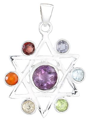 Multi-Gemstones Star Pendant