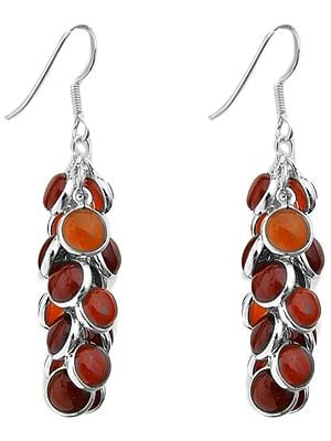 Garnet Gemstone Bunch Earrings