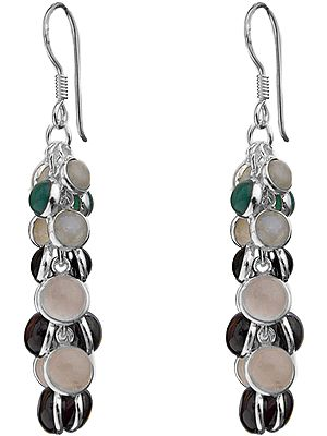 Multi-Gemstone Bunch Earrings