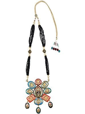 Multicolor Meenakari Necklace from Jharkhand with Hand-Painted Tree of Life