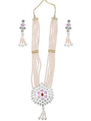 Peach and White Meenakari Necklace with Crystals and Faux Pearls