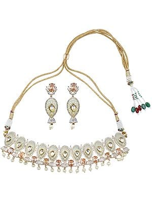 Pista-Green Choker Necklace with Faux Pearls and Kundan