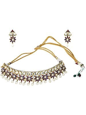 Passion-Purple Choker Necklace with Faux Pearls and Kundan