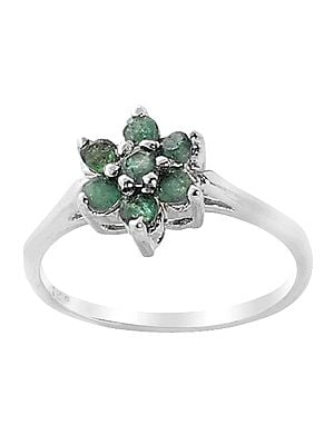 Superfine Floral Sterling Silver Ring with Studded Precious Gemstone