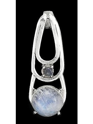 Sterling Silver Pendant with Rainbow Moonstone