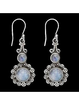 Stylish Sterling Silver Earrings with Rainbow Moonstone