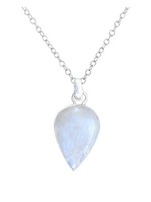 Pan Shaped Sterling Silver Pendant with Rainbow Moonstone
