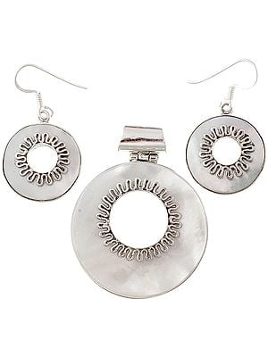 MOP Pendant with Matching Earrings Set