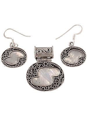 Rainbow Moonstone Pendant with Matching Earrings Set