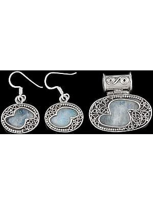 Rainbow Moonstone Pendant with Matching Earrings Set
