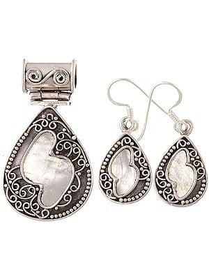 Rainbow Moonstone Teardrop Pendant with Earrings Set