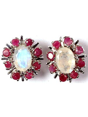 Ruby and Rainbow Moonstone Flowers