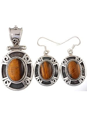 Tiger Eye Pendant with Earrings Set
