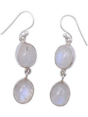 Cabochon Rainbow Moonstone Earrings