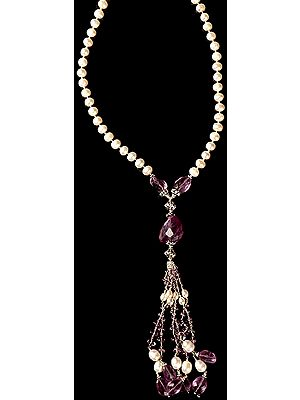 Amethyst and Pearl Necklace with Charms
