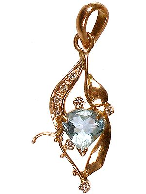 Aquamarine Pendant with Diamonds