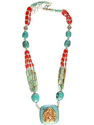 Manjushri Necklace with Coral and Turquoise