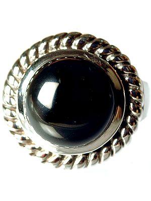 Black Onyx Circular Ring