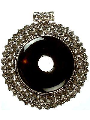 Black Onyx Donut Pendant