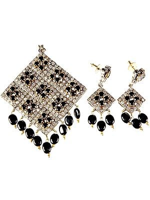 Black Onyx Rhombus Pendant with Matching Earrings