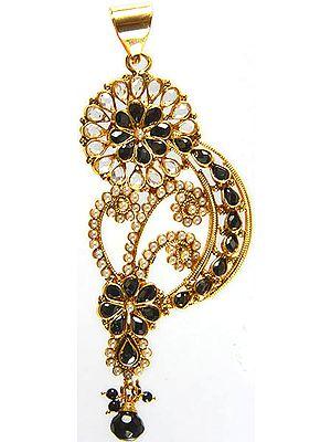 Black Stylized Paisley Polki Pendant with Cut Glass